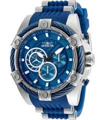 reloj invicta azul acero modelo 255ak para hombres, colección bolt