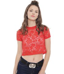 blusa only lalba cropped rojo - calce regular