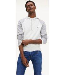 tommy hilfiger men's raglan sleeve hoodie sweater light cast heather - xxl