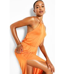 tall maxi-jurk met halternek en split, oranje