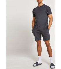 river island mens grey t-shirt and shorts set