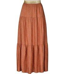 maxi-rok met glimmende tailleband bonny  bruin