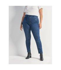 calça jegging jeans com elástico nas costas curve & plus size   ashua curve e plus size   azul   56