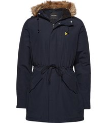 winter weight microfleece lined parka parka jas blauw lyle & scott