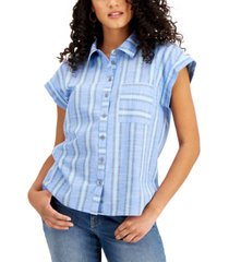 style & co petite striped button-down top, created for macy's