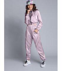calça jogging metalizada nylon lilas europa - lez a lez
