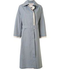 jil sander belted trench coat - blue