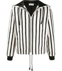 saint laurent vertical stripe zipped jacket - white