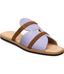189g electric lavender leather shoes summer shoes flat sandals lila gram