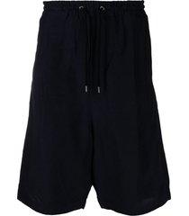 giorgio armani drop-crotch cotton shorts - blue