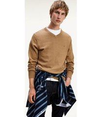 tommy hilfiger men's cotton cashmere v-neck sweater classic camel heather - xl