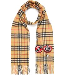 vintage check badge patch cashmere scarf
