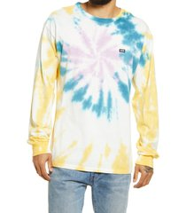 men's vans off the wall classic spiral tie dye long sleeve t-shirt, size large - yellow