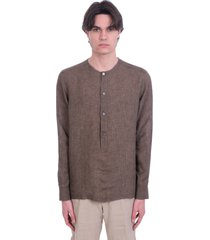 ermenegildo zegna shirt in brown linen