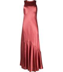 ann demeulemeester geometric-paneled bias satin dress - pink