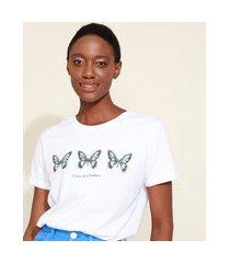 t-shirt feminina mindset borboletas manga curta decote redondo branca