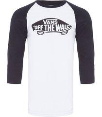 t-shirt masculina otw raglan - branco
