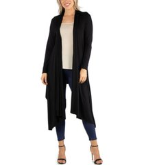 24seven comfort apparel long sleeve knee length open cardigan