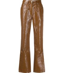 saks potts latin patent trousers - brown