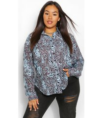 plus animal print oversized shirt, blue