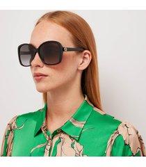 gucci women's gradient square frame acetate sunglasses - black/black/grey