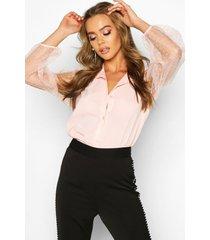 organza spot mesh sleeve shirt, pink