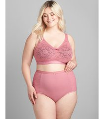 lane bryant women's cotton high-waist brief panty with lace 34/36 mesa rose