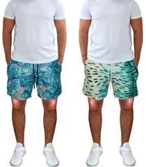 kit 2 shorts praia tactel estampado bolsos laterais cós de elástico 397
