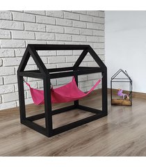 domek różowo-czarny, legowisko, hamak dla kota.