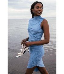 na-kd party draperad klänning med polokrage - blue