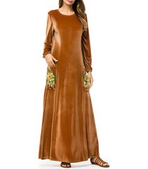 abito a maniche lunghe marrone con ricamo musulmano in velluto islamico