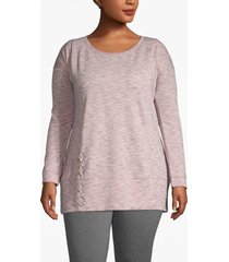 lane bryant women's active lace-up hem sweatshirt 14/16 light pink