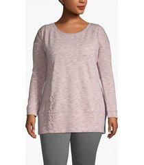 lane bryant women's active lace-up hem sweatshirt 22/24 light pink