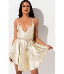 akira catch the light metallic mini romper