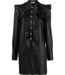 zadig & voltaire ruskies crinkle-effect shirt dress - black