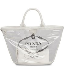 prada sheer logo tote - white