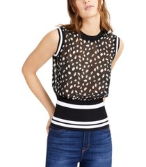 bar iii sheer dot-print mixed-media tank sweater, created for macy's