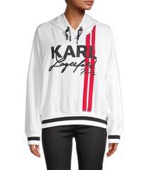 karl lagerfeld paris women's logo-print hoodie - black - size l
