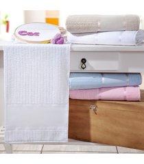 kit 4 toalhas de rosto ponto russo 100% algodão branco - bene casa