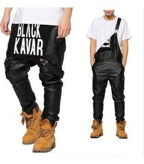 mens hiphop hip hop swag black leather overalls pants
