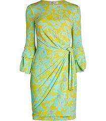 faridah print side-knot midi sheath dress