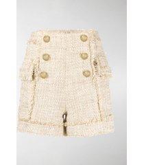 balmain frayed tweed shorts