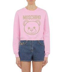moschino studded bear logo crop sweatshirt, size 14 us in fantasy print pink at nordstrom