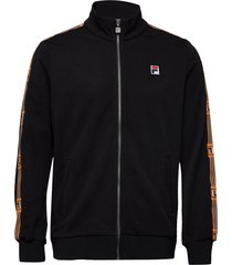 men haben track jacket sweat-shirt trui zwart fila
