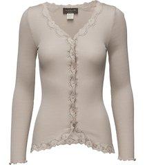 silk cardigan regular ls w/rev vint gebreide trui cardigan crème rosemunde