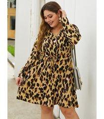 plus talla cinturón diseño manga larga con cuello en v de leopardo vestido