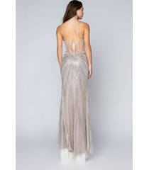 akira black label stop the show drippin beaded maxi gown
