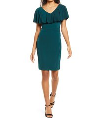 women's connected apparel flutter overlay sheath dress, size 10 - green