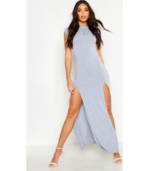 front split maxi dress, grey marl