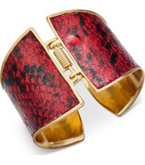 thalia sodi gold-tone & red animal print hinge bracelet, created for macy's
